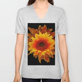 Decor Black & Brown Golden Sunflower Art Unisex V-Neck