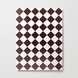 Large Diamonds - White and Dark Sienna Brown Metal Print