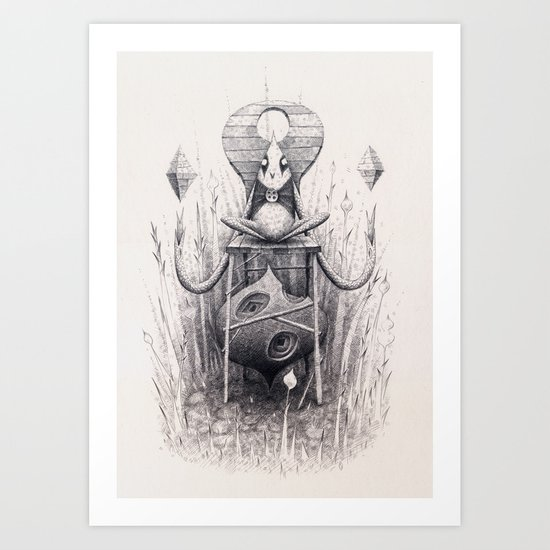 Owl Chair Art Print