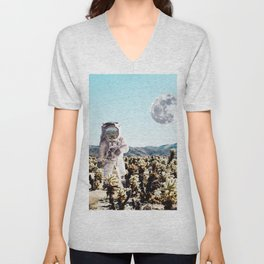 Collage, Astronaut, Desert, Moon, Creative, Nature, Modern, Trendy, Wall art Unisex V-Neck