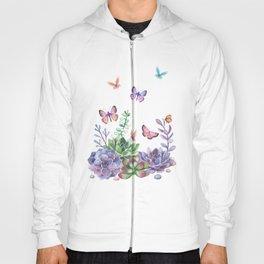 A Splendid Secret Succulent Garden With Butterfly Visitors Hoody