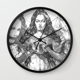SOLVE ET COAGULA. New Composition. Ladies. Damascus. Triptych. Part 2. Illustration. INK ART. Yury F Wall Clock