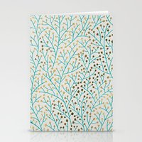 bee Stationery Cards featuring Berry Branches – Turquoise & Gold by Cat Coquillette