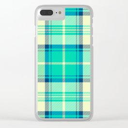 Turquoise Tartan Clear iPhone Case