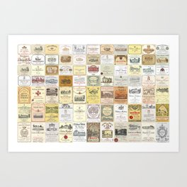 Famous French wine labels collage: vintages from Bordeaux/Rhone Art Print