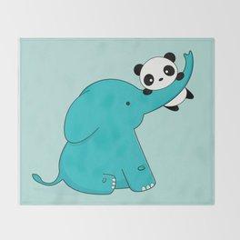 Kawaii Cute Panda and Elephant Throw Blanket
