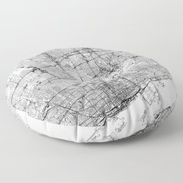Toronto White Map Floor Pillow