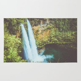 double waterfall in paradise Rug