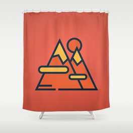 Mountain Red Shower Curtain