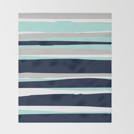 Ocean, Stripe Abstract Pattern, Navy, Aqua, Gray Throw Blanket