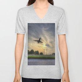 Boeing 747 Sunset Landing Unisex V-Neck