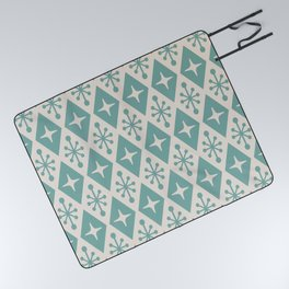 Mid Century Modern Atomic Triangle Pattern 710 Green and Beige Picnic Blanket