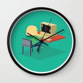 Nerd playing Pong Wall Clock