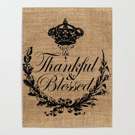 french country jubilee crown thanksgiving fall wreath beige burlap thankful and blessed Poster