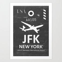 JFK Airport code New York USA Art Print