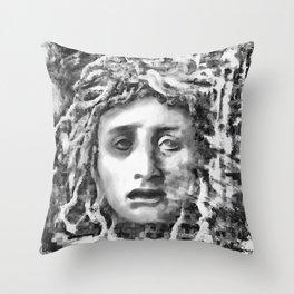 Medusa Ancient Goddess Portrait In Grey Throw Pillow