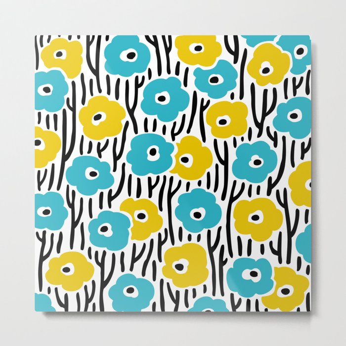 Mid Century Modern Wild Flowers Pattern Turquoise and Yellow Metal Print