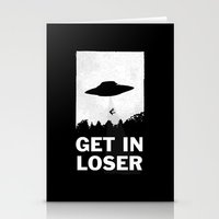 minimalist Stationery Cards featuring Get In Loser by moop