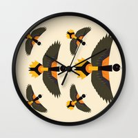 baltimore Wall Clocks featuring Baltimore Oriole  by Alysha Dawn