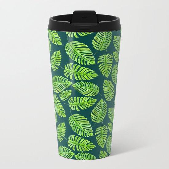 Monstera leaves, tropical watercolor pattern Metal Travel Mug