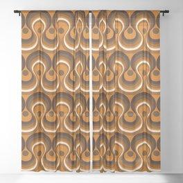Brown, Orange & Ivory Wavy Lines Retro Pattern Sheer Curtain