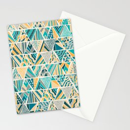 Hand Drawn Geometric Triangle Pattern Design - Green and Yellow Stationery Cards