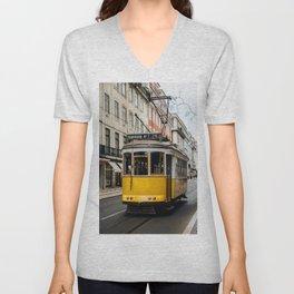 Tram in Lisbon Unisex V-Neck