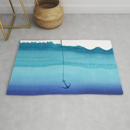 Cute Sinking Anchor in Sea Blue Watercolor Rug