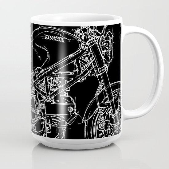 Black Ducati Monster White ink Coffee Mug by cuentosdelbondi   Society6