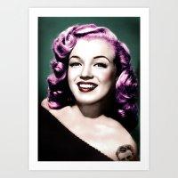 rockabilly Art Prints featuring Rockabilly Marilyn by Tamsin Lucie