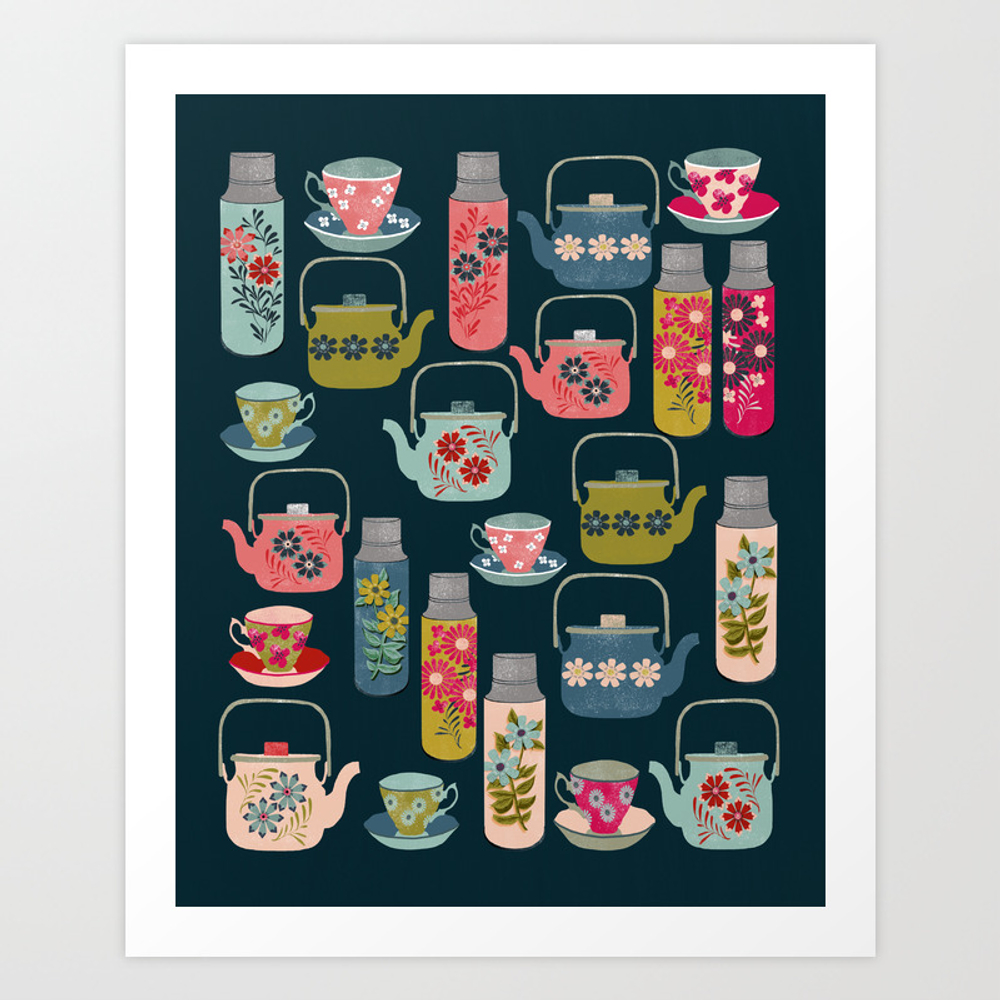 Vintage Thermos - Teacups And Teapots By Andrea La… Art Print by Andrealaurendesign PRN3157288