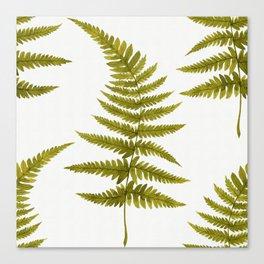 Green Watercolor Fern Pattern Canvas Print