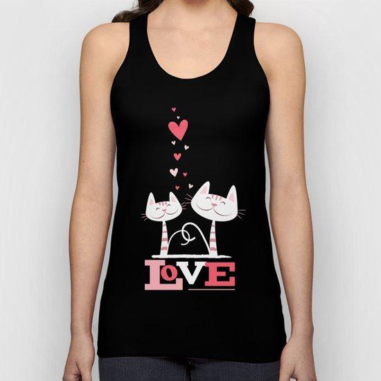 2 Cats in Love Unisex Tank Top