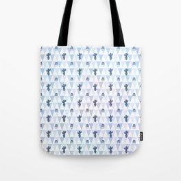 Pastel blue violet lilac hand painted geometrical cactus Tote Bag