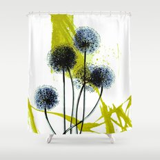 blue dandelion on abstract background Shower Curtain