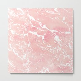 Modern pastel blush pink watercolor marble pattern Metal Print
