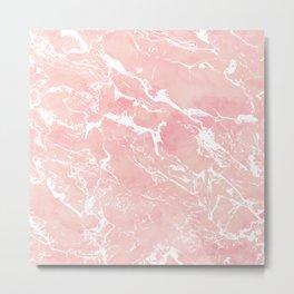 Modern pastel blush pink watercolor marble pattern Metal Print