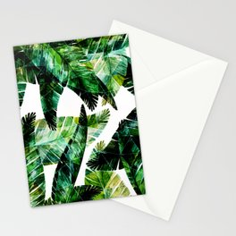 Green leaves of a banana. 2 Stationery Cards