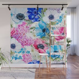 Spring Anemone Watercolor Blue Pink Wall Mural