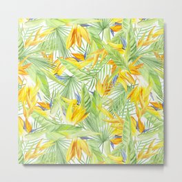 watercolor pattern tropical leaves and flowers bird of paradise Metal Print