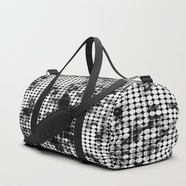 psychedelic circle pattern painting abstract background in black and white Duffle Bag