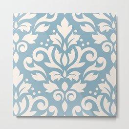 Scroll Damask Large Pattern Cream on Blue Metal Print