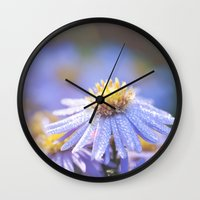 biology Wall Clocks featuring Blue Aster in LOVE I by UtArt