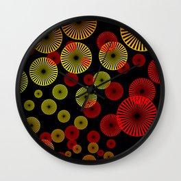 Spiral circles red yellow black Wall Clock
