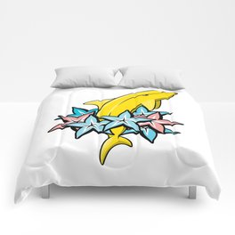 Banana dolphin illustration with color stars carambolas. Comforters