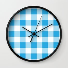 Blue Gingham Pattern Wall Clock