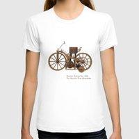 mercedes T-shirts featuring Daimler Riding Car, 1885. The world's first motorbike. by Marijan Zubak