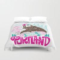 portland Duvet Covers featuring Portland Sasquatch  by tim weakland