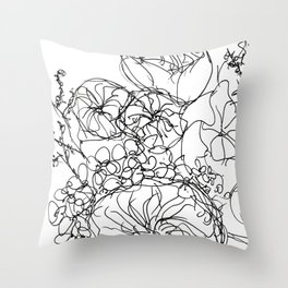 Peony - Black and White Throw Pillow