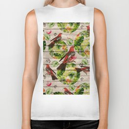 Rustic white wood tropical red green watercolor floral red birds Biker Tank